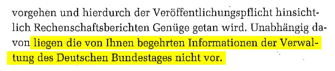 Ausriss aus Widerspruchsbescheid des Bundestages vom 3.2.2016