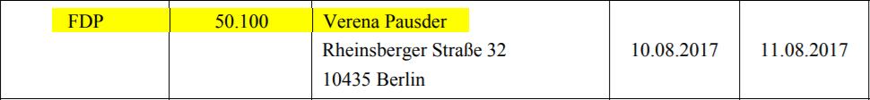 Ausriss einer Bundestagsdrucksache zur 50.100 Euro-Spende von Verena Pausder an die FDP