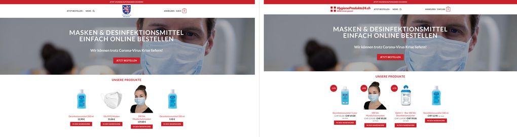 Onlineshops mittelhessen-maske.de und hygieneprodukte24.ch