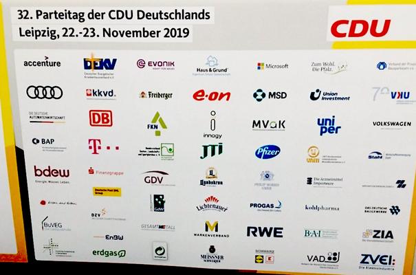 CDU-Sponsoren auf dem Parteitag 2019