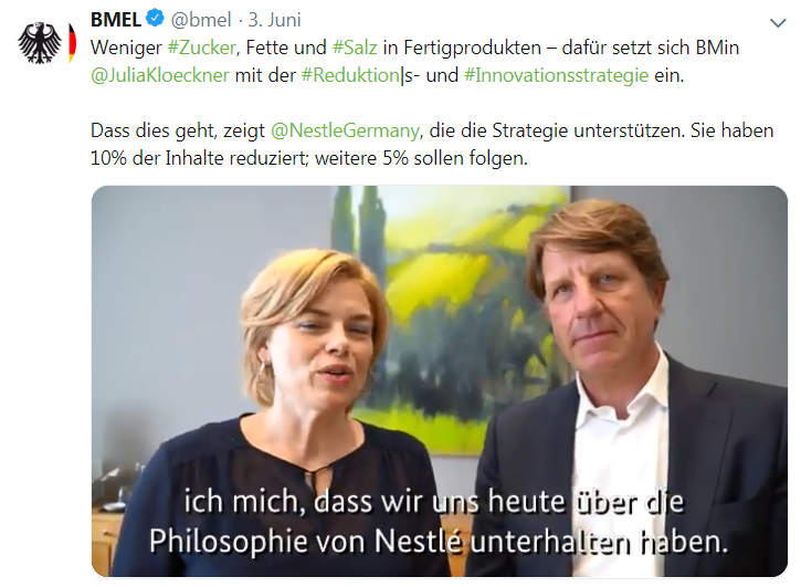 Tweet Kloeckner/Nestle-Chef vom 3.6.2019