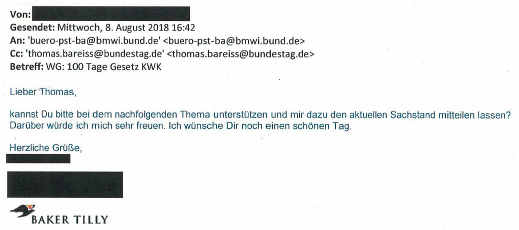 Mail Baker Tilly an Staatssekretär Thomas Bareiß vom 8. August 2018