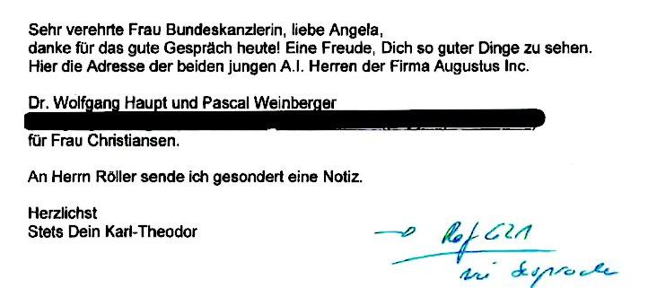 Guttenberg-Mail vom 3.9.2019 an Merkel