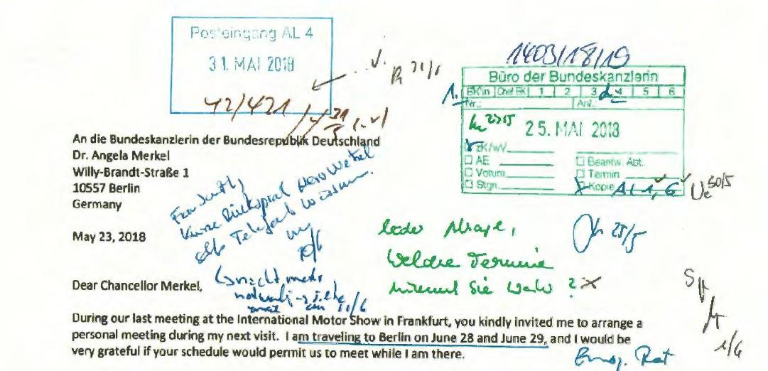 """Ausriss des Sandberg-Briefes an Kanzlerin Merkel mit handschriftlicher Notiz: """"Leider Absage"""""""