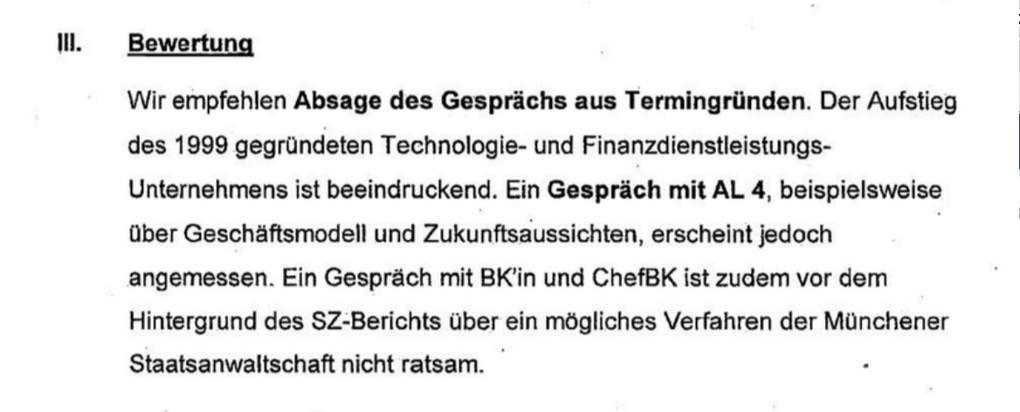 """Aktenvermerk im Kanzleramt zu Terminanfrage von Wirecard: """"Nicht ratsam"""""""